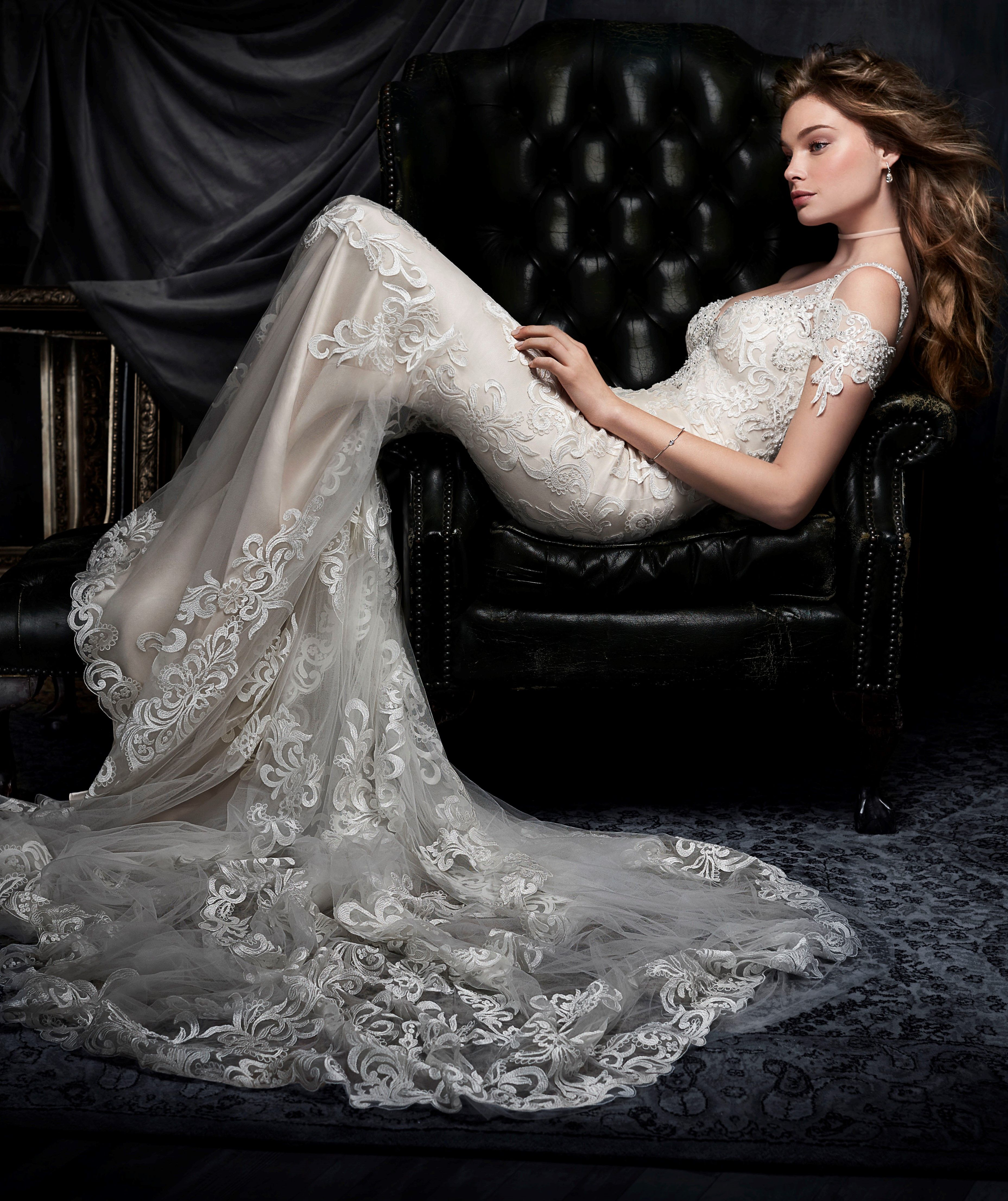 Kenneth Winston #1706 - sheath lace gown with a plunging v-neckline ...