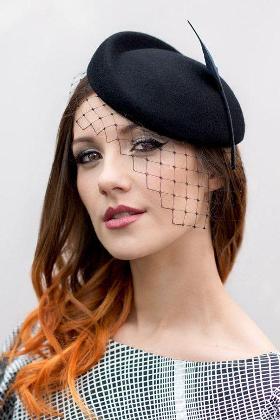 6d90d4bd942 Birdcage Veil Headpiece Black Hat with Veil by MaggieMowbrayHats ...