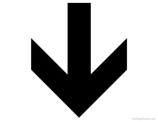 Printable Down Arrow Sign | Arrow signs, Sign printing, Down arrow