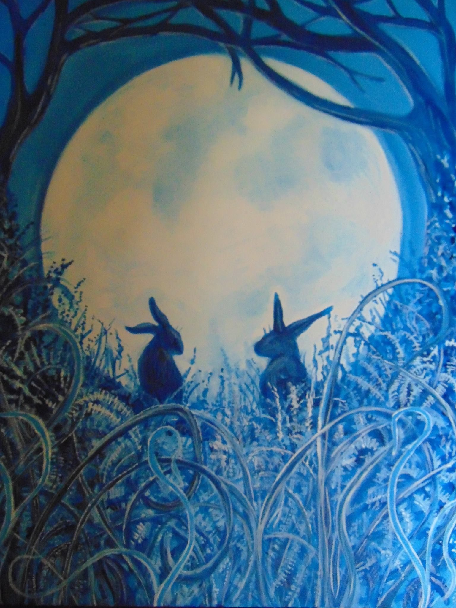 By the light of the silvery moon Hares Rabbits