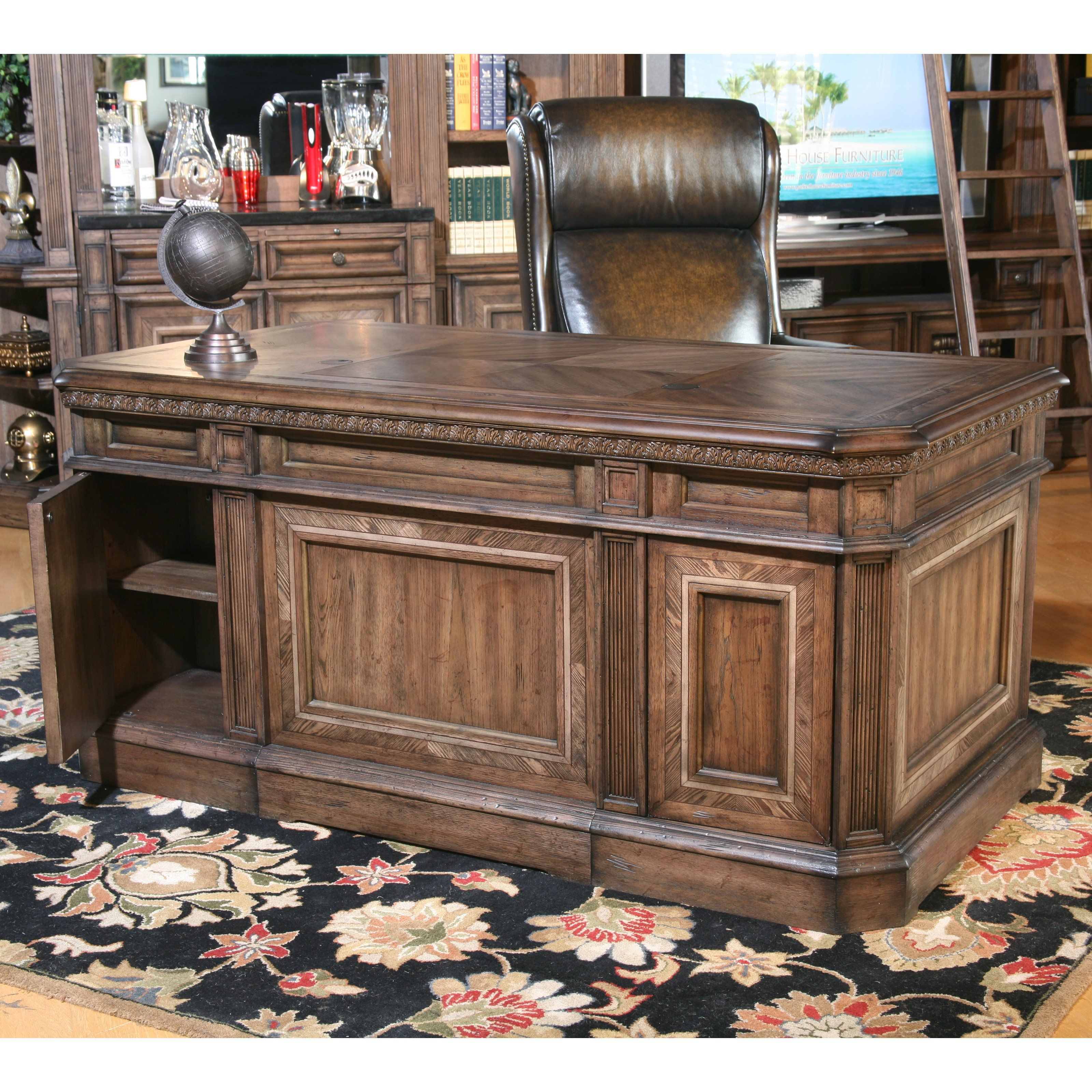 Parker House Aria Library Double Pedestal Executive Desk Antique Vintage Smoked Pecan Www Hayneedle Com Executive Desk Parker House Antique Desk