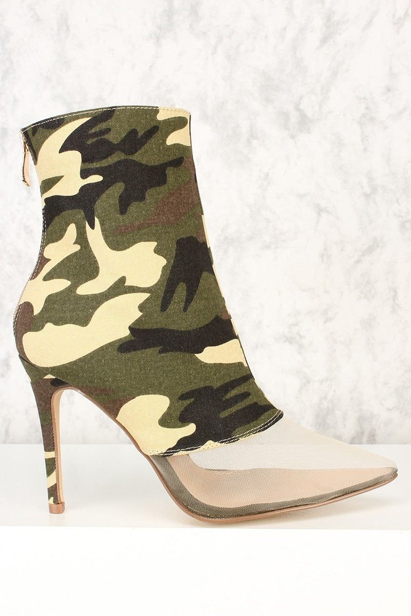 652787affa6e9 Camo Canvas Clear Mesh Pointy Toe High Heel Booties Clearance Shoes, 2 Inch  Heels,