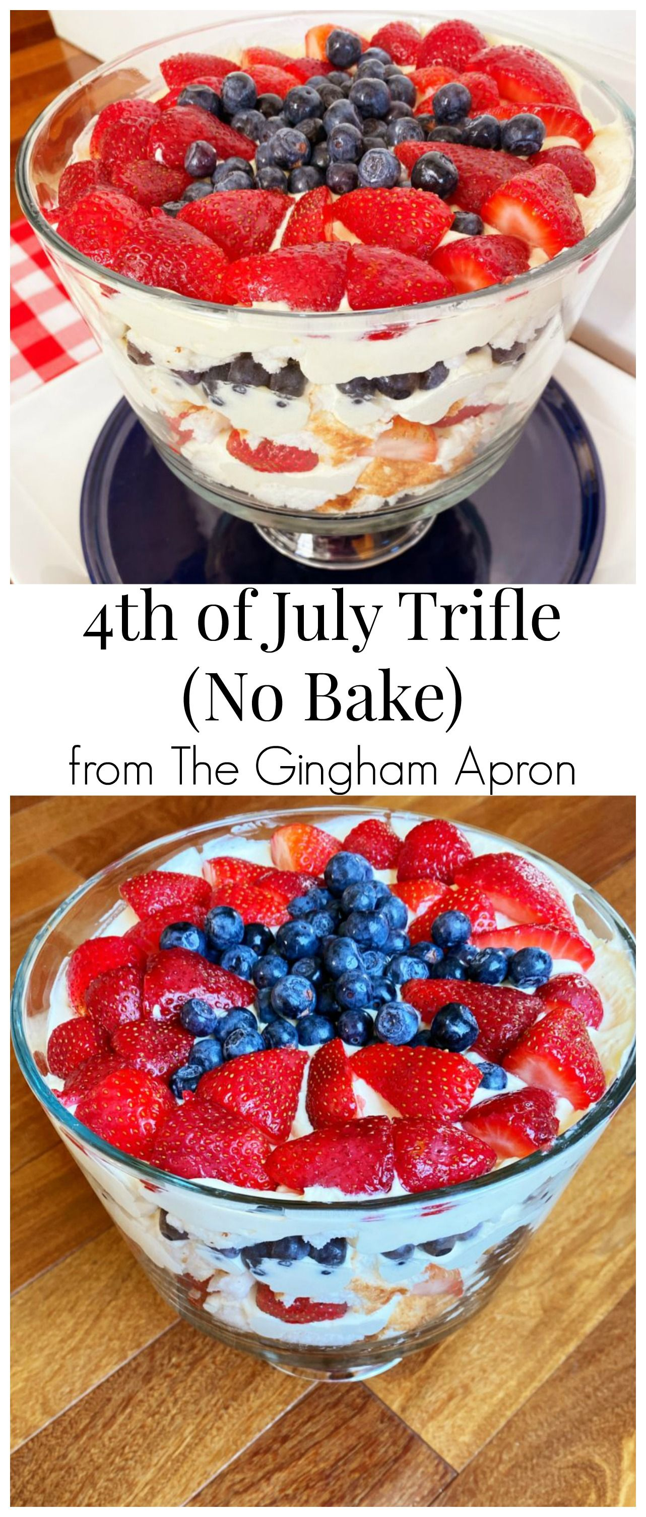 4th of July (No Bake) Trifle- This refreshing and beautiful trifle is the perfect, easy dessert for this 4th of July. #trifle #independenceday #4thofjuly #dessert #america #redwhiteandblue #nobake #easy