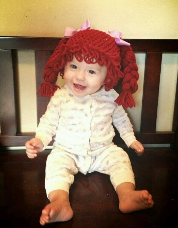 Cabbage Patch Kid Wig Hat Carrot Top Purple Bows Braids T