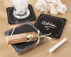 Country Wedding Favors: Chalkboards- chalkboard wedding favors - coasters