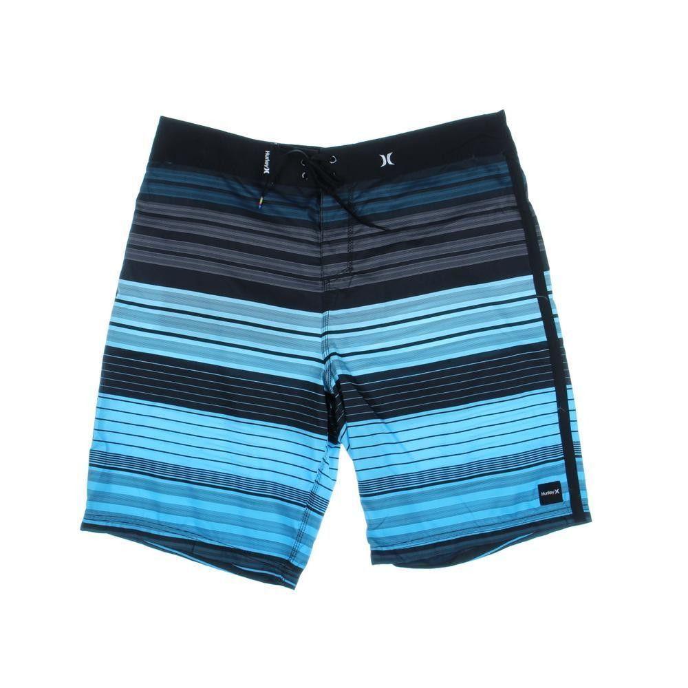 HURLEY Mens Black Striped Tie Front Swimwear Board Shorts 38