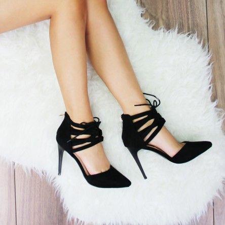 Szpilki Sznurowane Zamszowe Czarne Lui Stiletto Heels Heels Stiletto