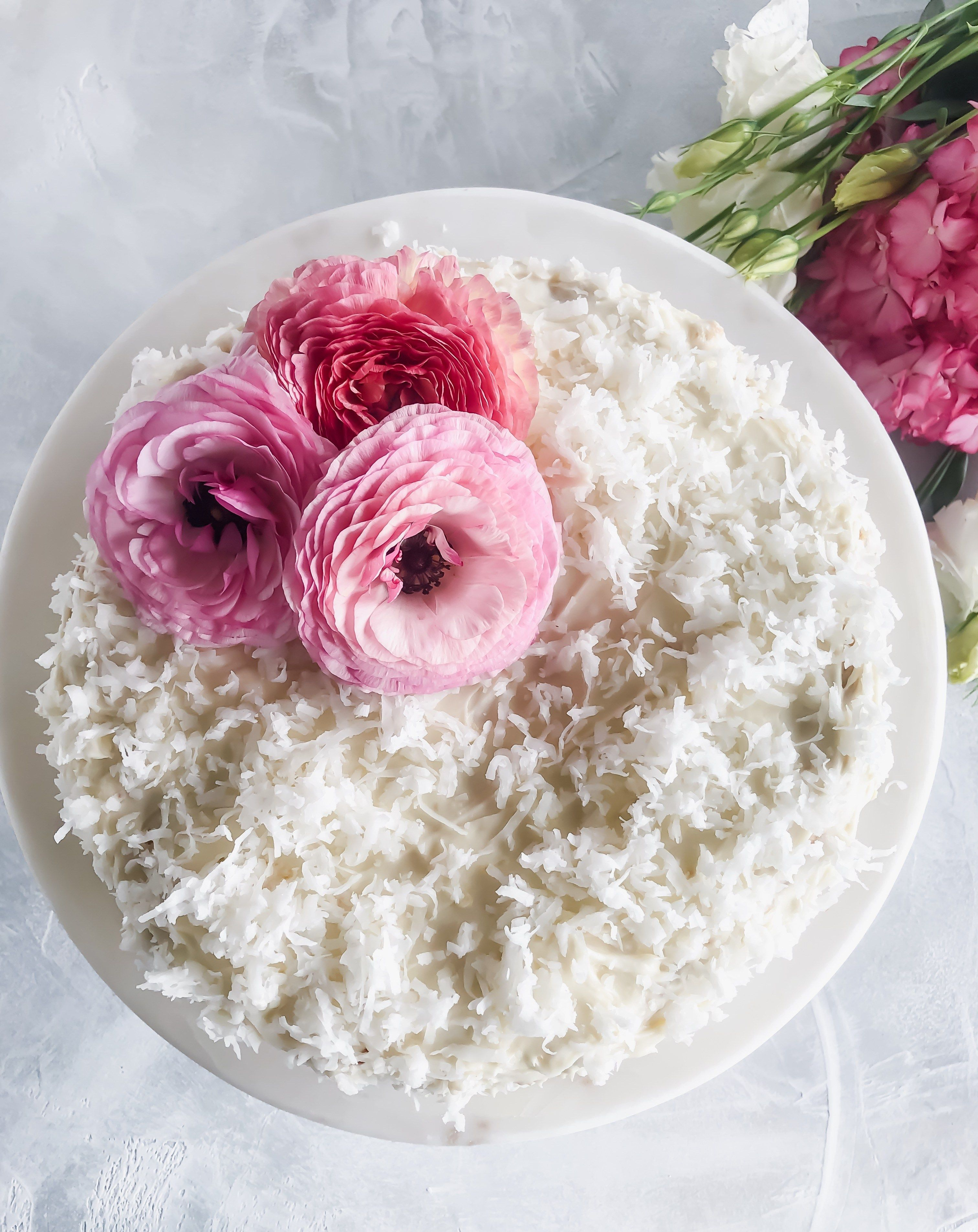 Coconut cake with cream cheese frosting growing up cali