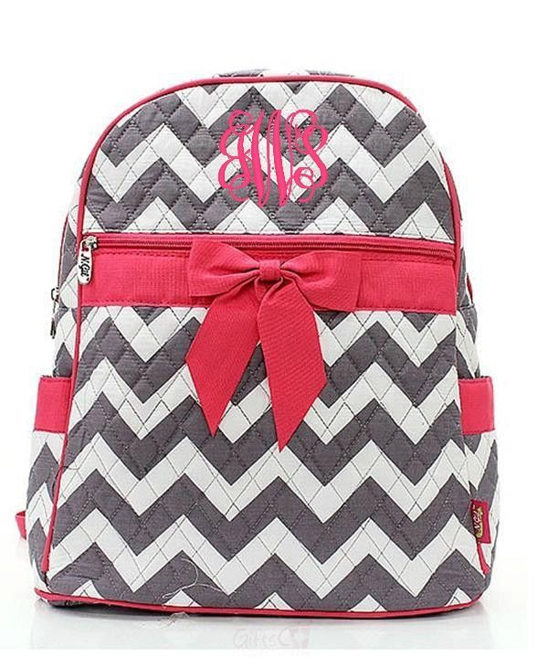 9d8dd0be0c97 Monogrammed Gray   White Chevron Kid s Backpack - Pink - Personalized with  an embroidered monogram or name. Available in a wide variety of colors and  ...