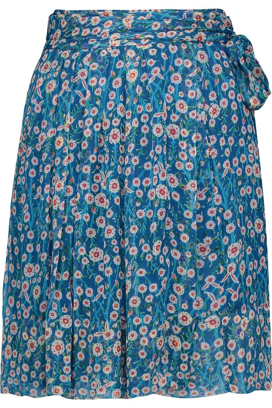 ETOILE ISABEL MARANT Sistle Pleated Printed Silk-Voile Mini Skirt. #etoileisabelmarant #cloth #skirt