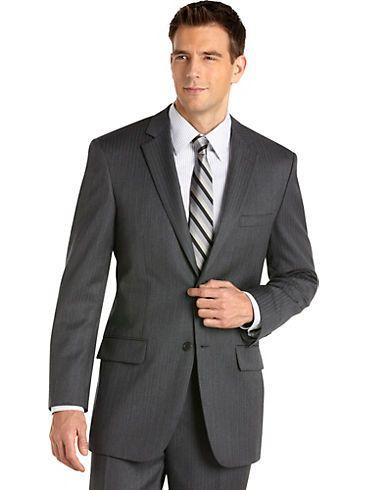 Suits & Suit Separates - Wilke Rodriguez Gray Multistripe Modern-Fit Suit - Men's Wearhouse