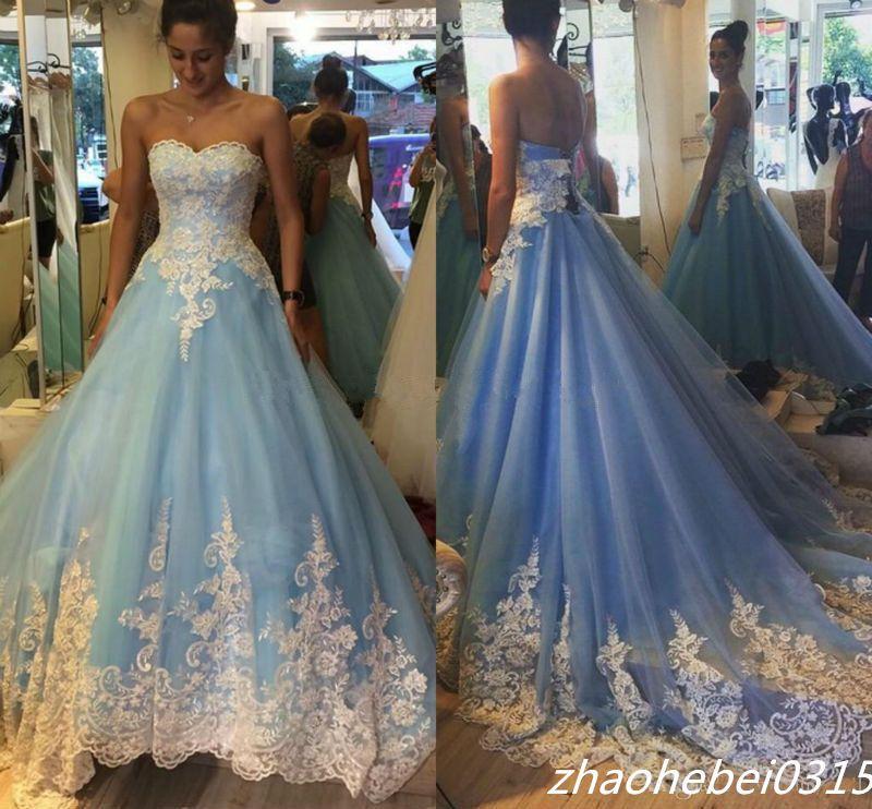 2016 Blue Cinderella Wedding Dresses Princess Liques Bridal Gowns Custom Made