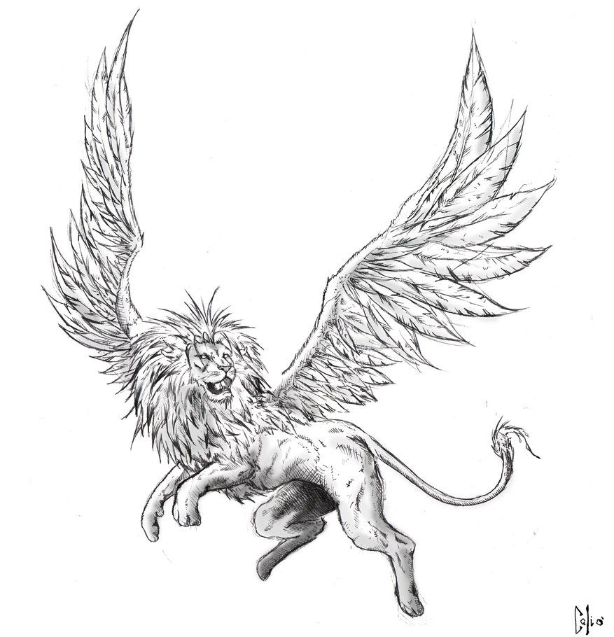 8dac67ad3 Winged Lion by DraftmanArt