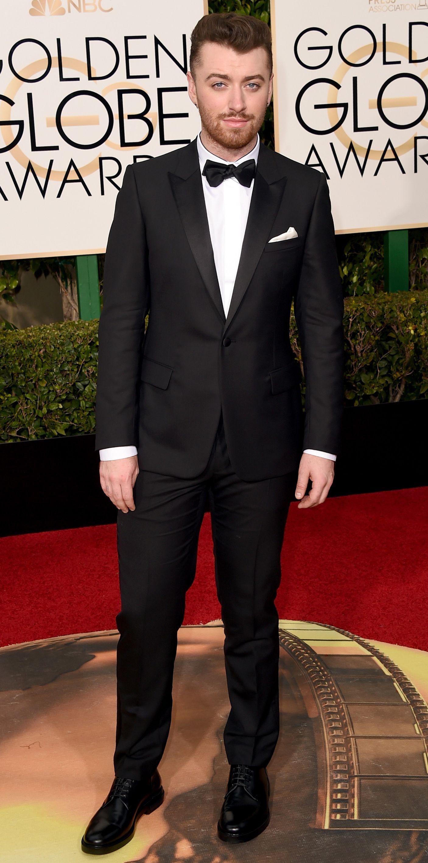 Sam Smith in a black tuxedo