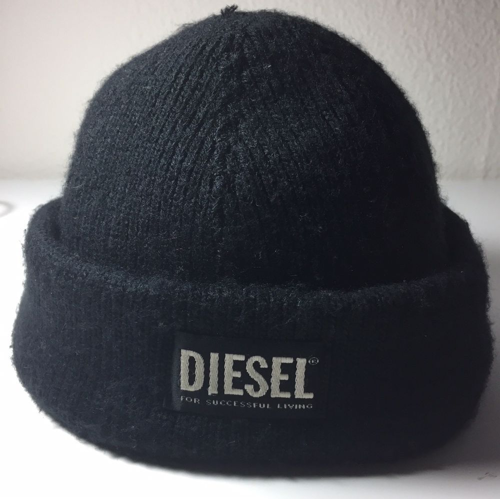DIESEL Black Hat Skull Cap Made In Italy  fashion  clothing  shoes   accessories c7be466a24a2