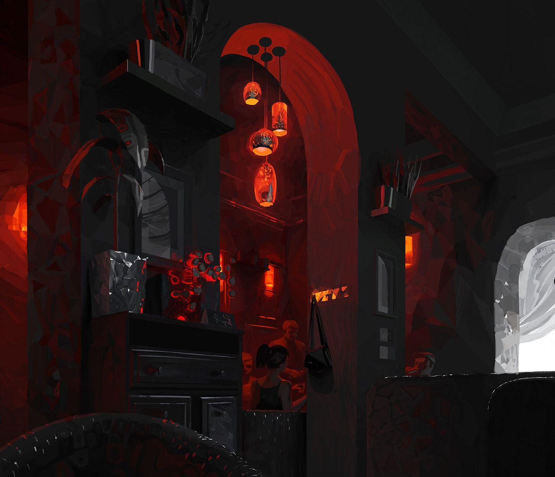 red cafe andrey surnov on artstation at httpswwwartstation - Red Cafe Ideas