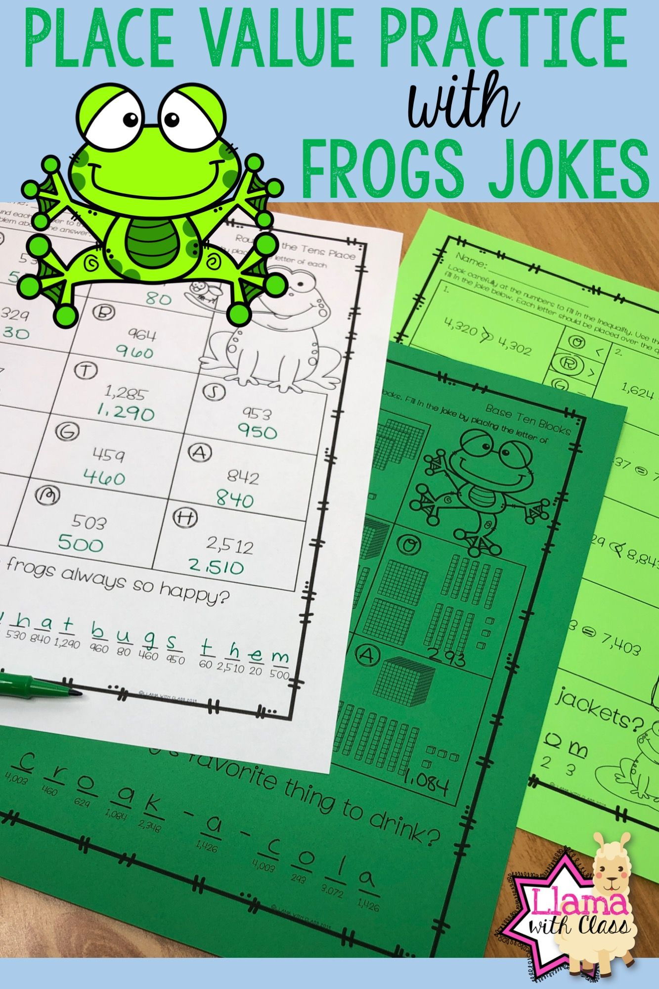 Place Value Worksheets With Frog Jokes