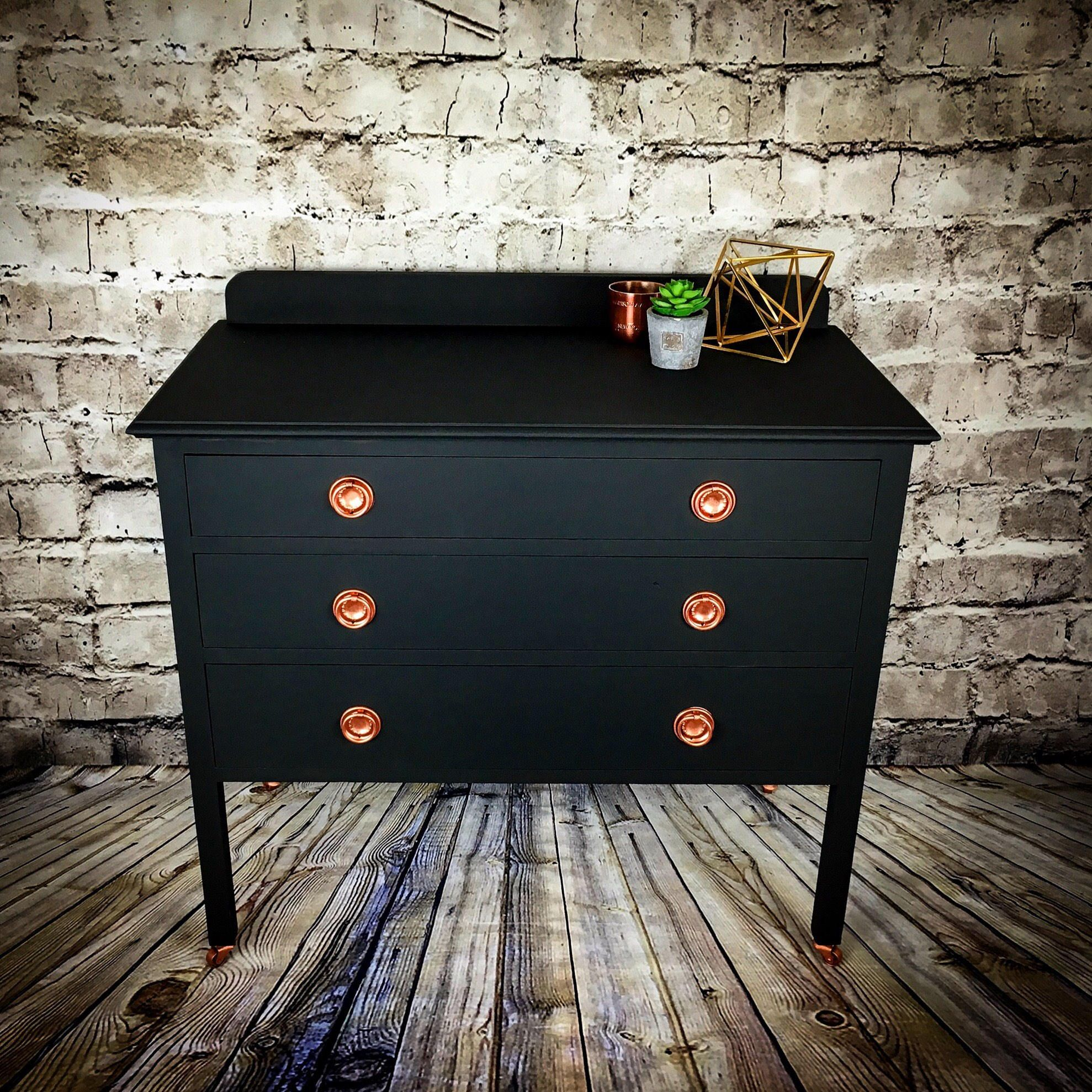 Upcycled Painted Vintage Chest Of Drawers With Copper