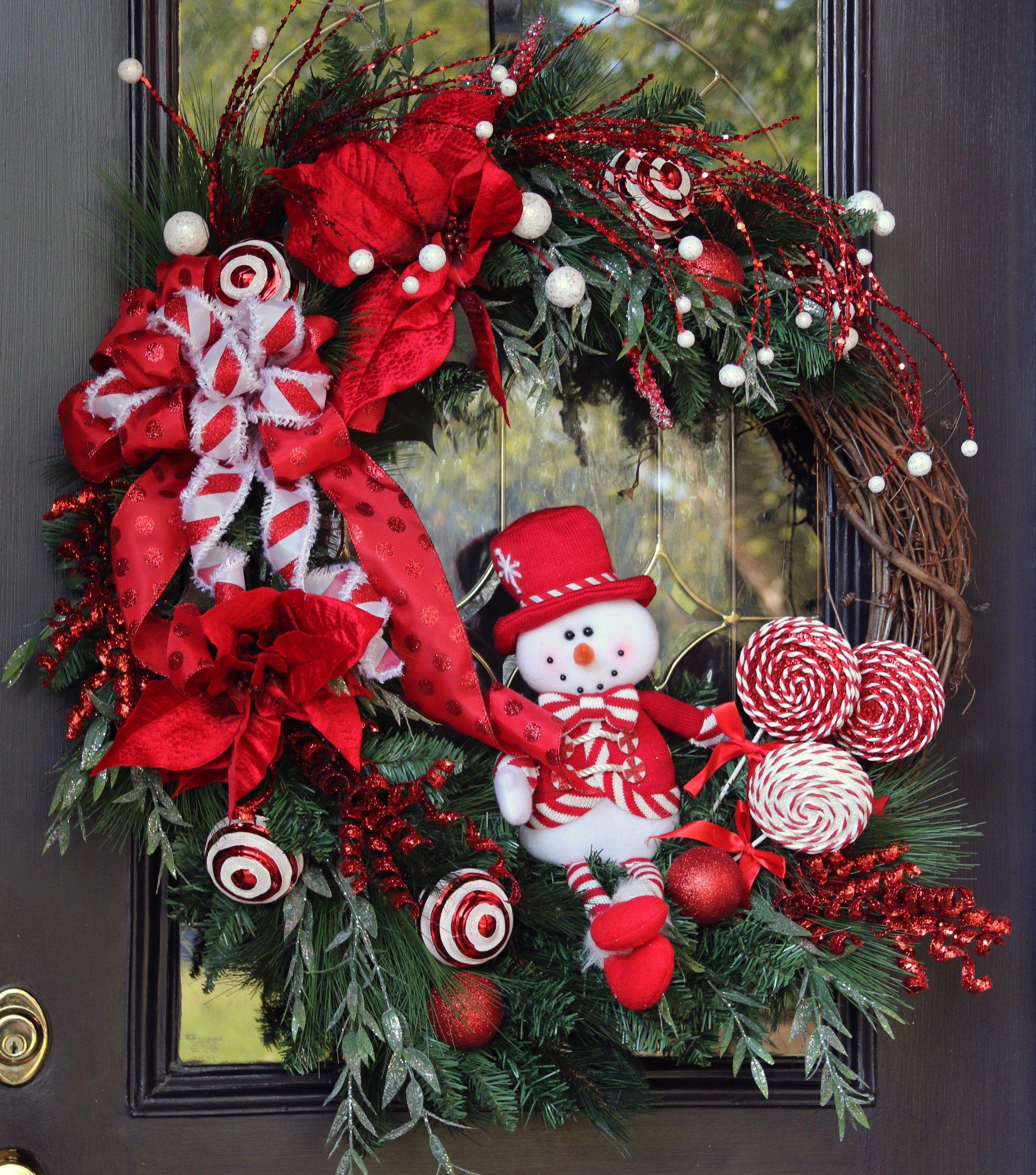 Winter Snowman Wreath Winter Door Wreath Red White Winter Door Wreath Ready To Ship Holiday Candy Cane Decor Classic Winter Decor Christmas Wreaths Classic Christmas Decorations Christmas Door Wreaths