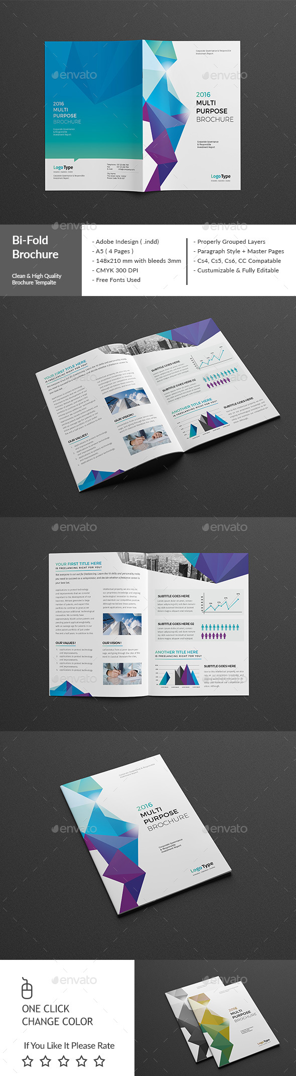 Abstract BiFold Brochure Template InDesign INDD Design Download - Bi fold brochure template indesign