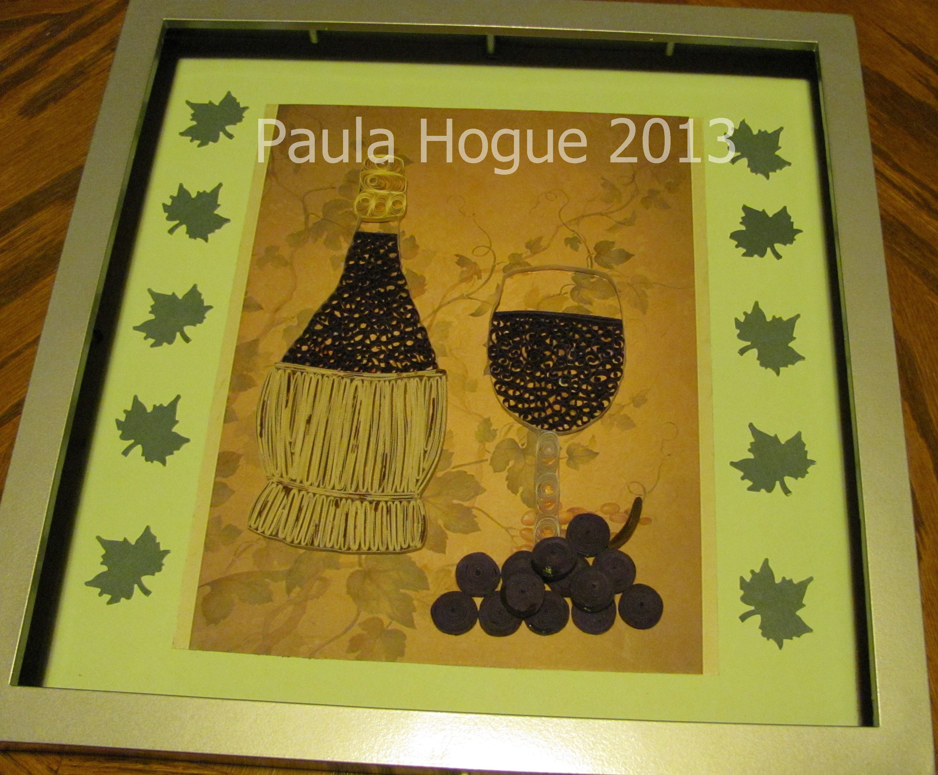 Quilled Wine Bottle And Glass