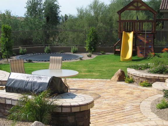 In Ground Trampoline Landscape Google Search Backyard Backyard Trampoline Deck Fire Pit