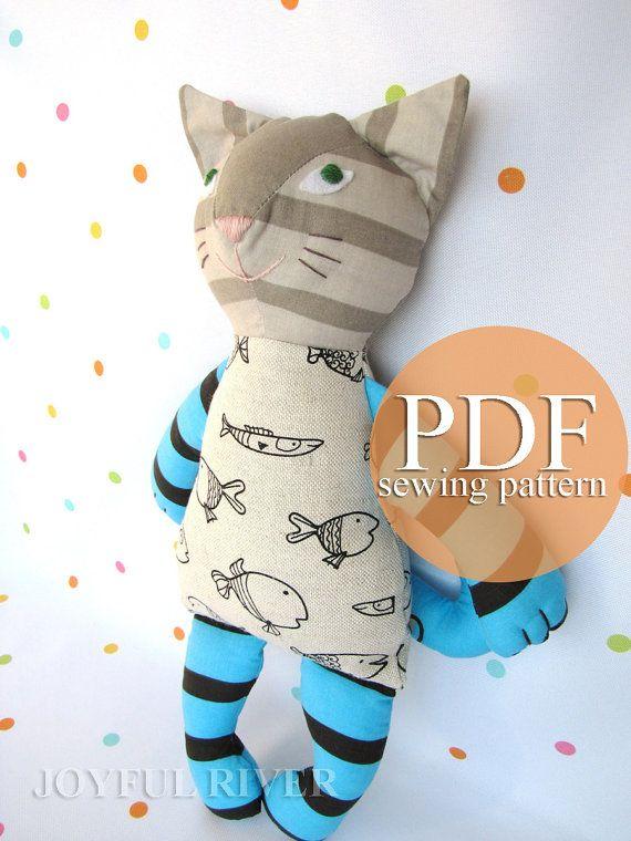 Cat doll sewing pattern PDF. Stuffed toy cat sewing pattern ...