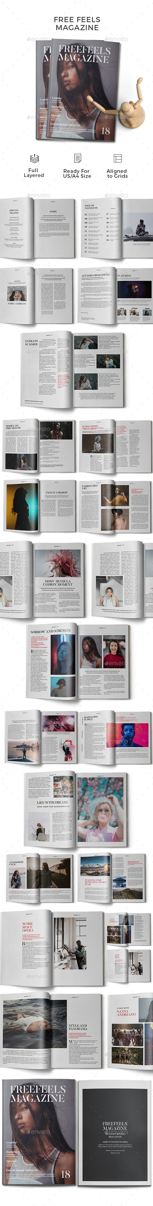 Free Feels Magazine Template Indesign Indd A4 Us Letter Size