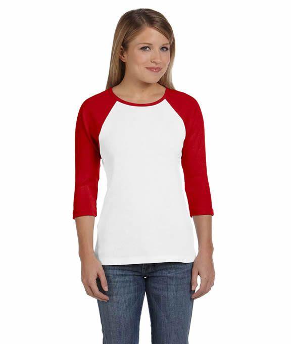 2b178431d5a Wholesale Blank B2000 Bella Ladies  Two-Tone 3 4-Sleeve Raglan T-Shirt