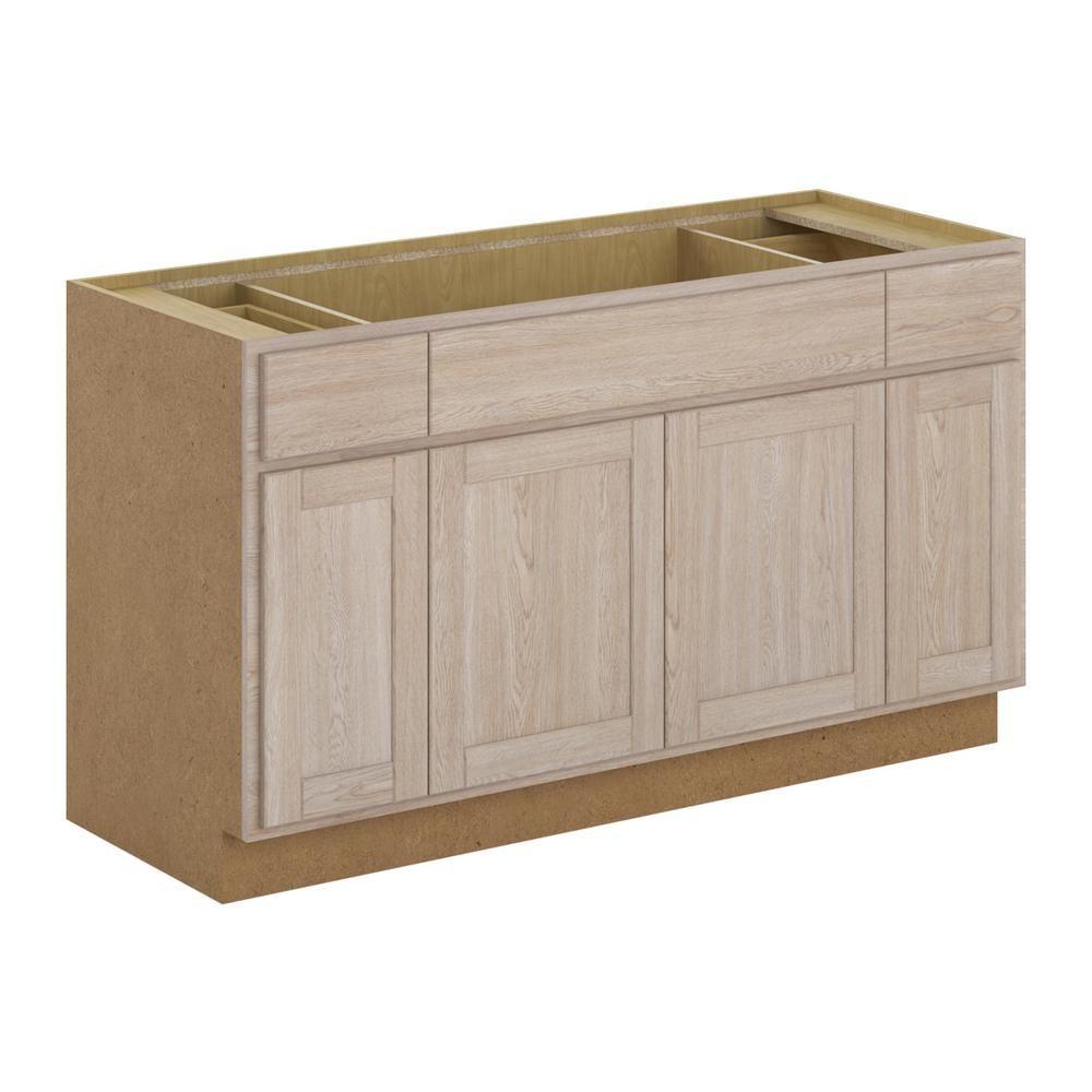sink base cabinet in unfinished oak