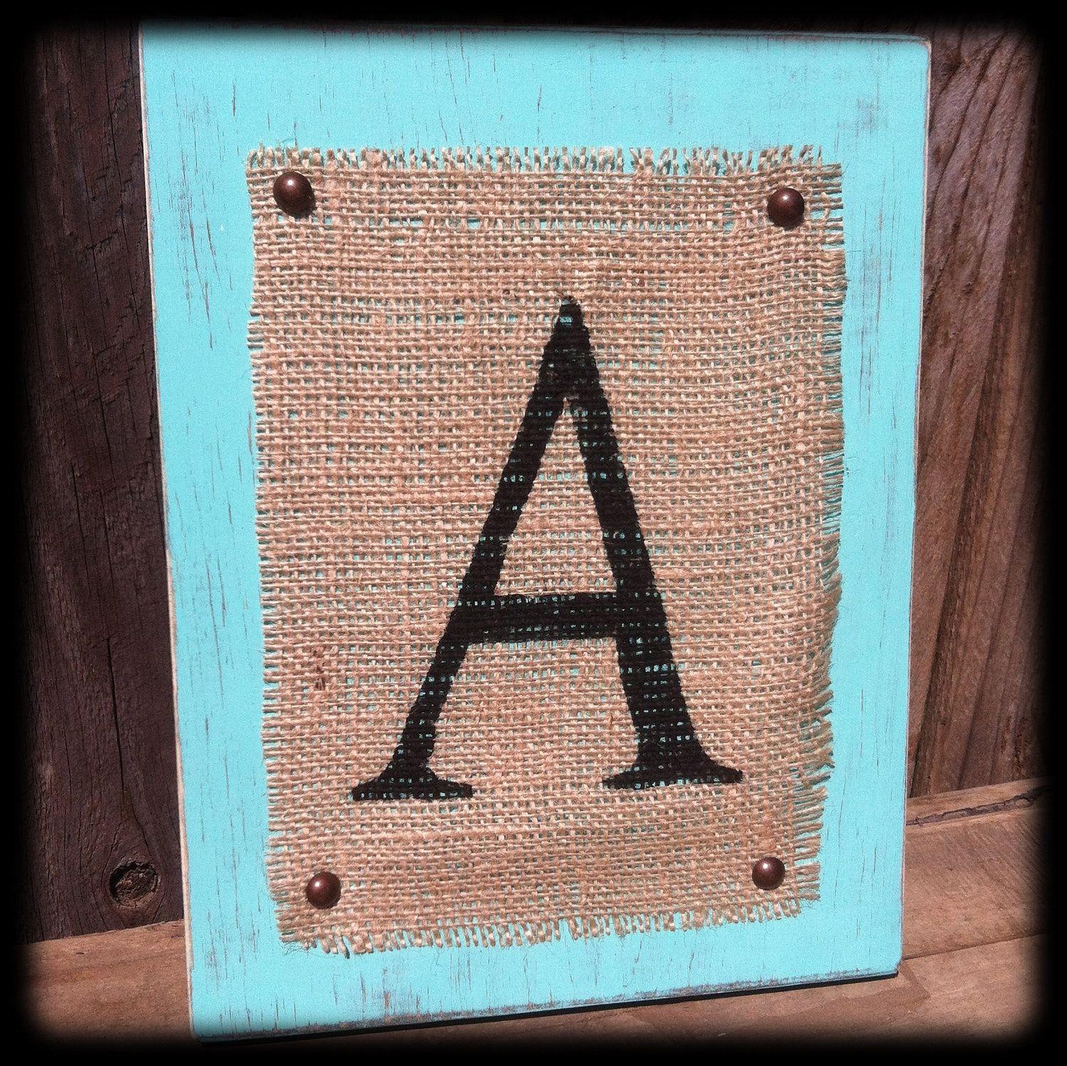 "Distressed Aqua  Monogram ""A"" Block. $26.00, via Etsy."