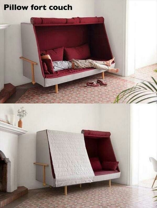Pillow fort couch. I NEED this! Pillow fort couch. I NEED this
