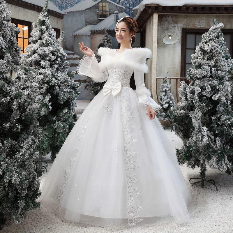 2014 Wedding Long Sleeve Winter Fur Collar Thickening Dress RobeMariage Dhiver