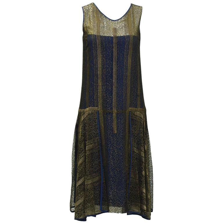 1920 S Gold And Navy Lace Art Deco Flapper Dress In 2020 Lace Dress Vintage Vintage Flapper Dress Lace Blue Dress