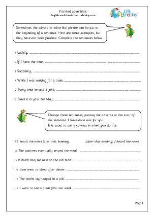 Fronted Adverbials Writing Interventions Adverbial Phrases Adverbs