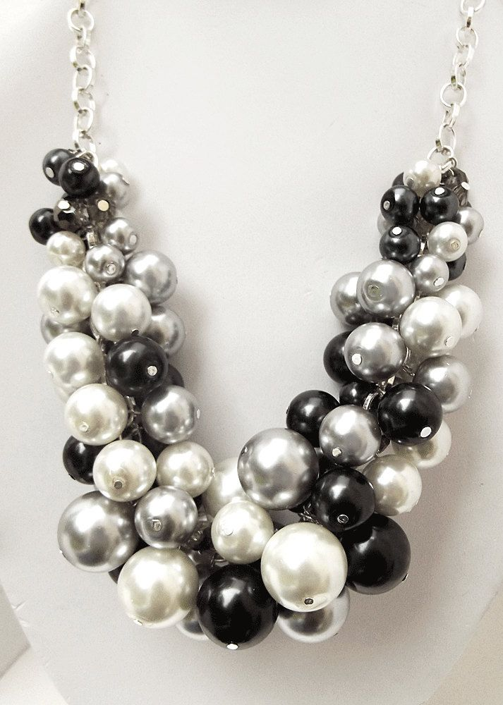 Chunky Beaded Necklace Pearl Statement Necklace Black