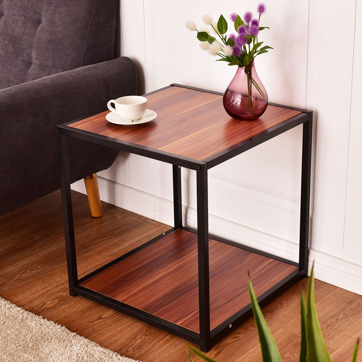 20 Metal Square Side Table Coffee Stand Bottom With 2 Tier Shelf Coffee Table Couches Living Room Walnut Coffee Table