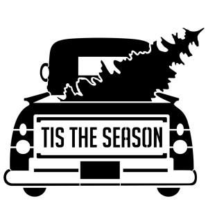 "Photo of Designer Stencils ""Tis the Season"" Vintage Truck with Tree Stencil FS055 – The Home Depot"