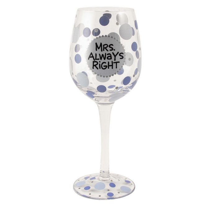 Wine Glasses - Mrs Right Hand Painted Wine Glass - Our Name Is Mud ONM4017990 #FineGifts #WineGlassesGlasswareGiftOurNameIsMud