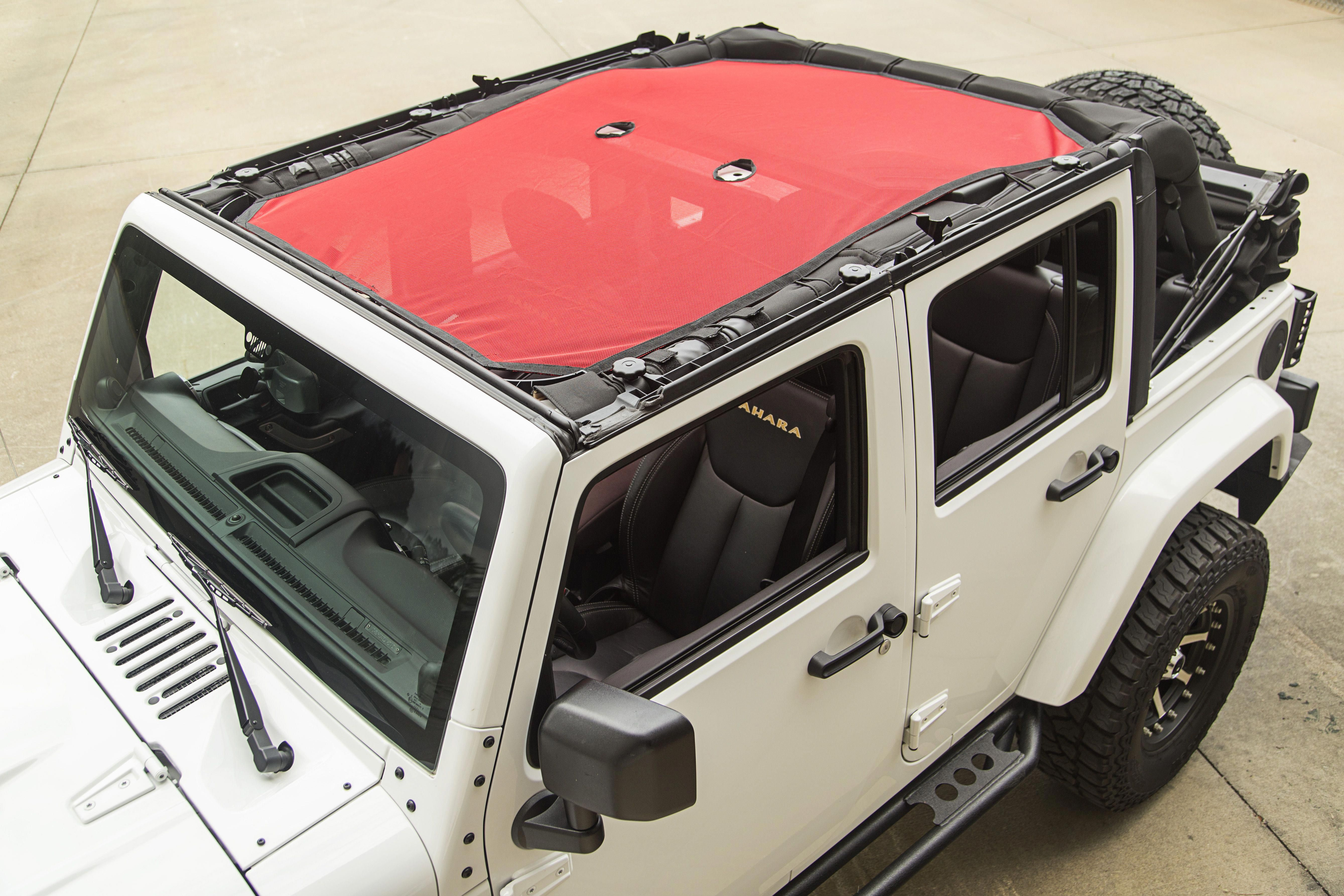 Rugged Ridge Eclipse Sun Shade Red Mesh 07 16 Jeep Wrangler Unlimited Jku X 13579 25 Jeep Wrangler Jeep Wrangler Unlimited Jeep