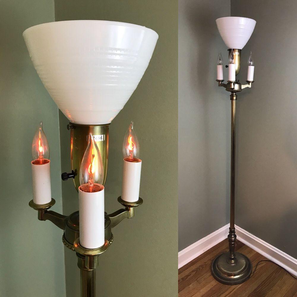Vtg Stiffel Br Floor Lamp W Pole