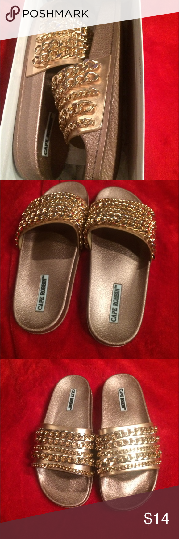 4671226b047 Brand New Fashion Nova Slides They have Gold Chains and They are a size 6  they have never been worn Fashion Nova Shoes Sandals