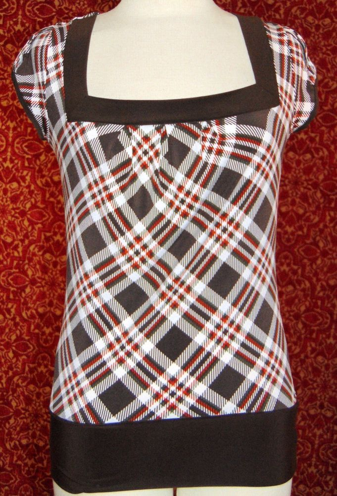 NWT COCOMO brown plaid cap sleeve stretch polyester blouse S (T35-02E6G) #Cocomo #Blouse #Casual