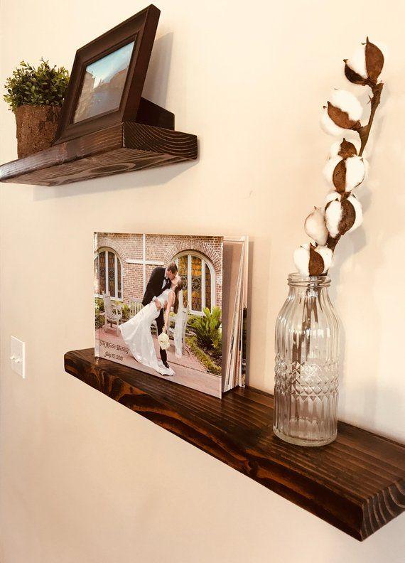 Rustic Wood Floating Shelf Set In 2019 Products Floating Shelves