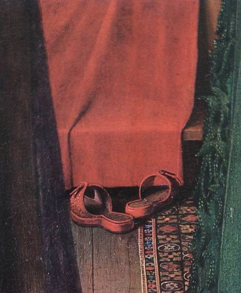 The Red Shoes Detail From The Arnolfini Wedding Portrait By Jan Van Eyck 1434 The National Gallery London Jan Van Eyck Arnolfini Portrait Detail Art