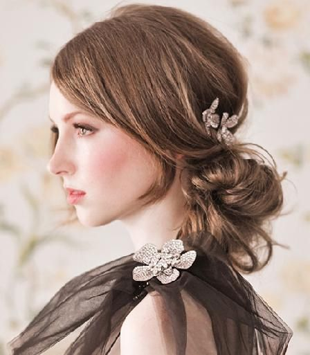 Low Side Bun With Bridal Hair Comb