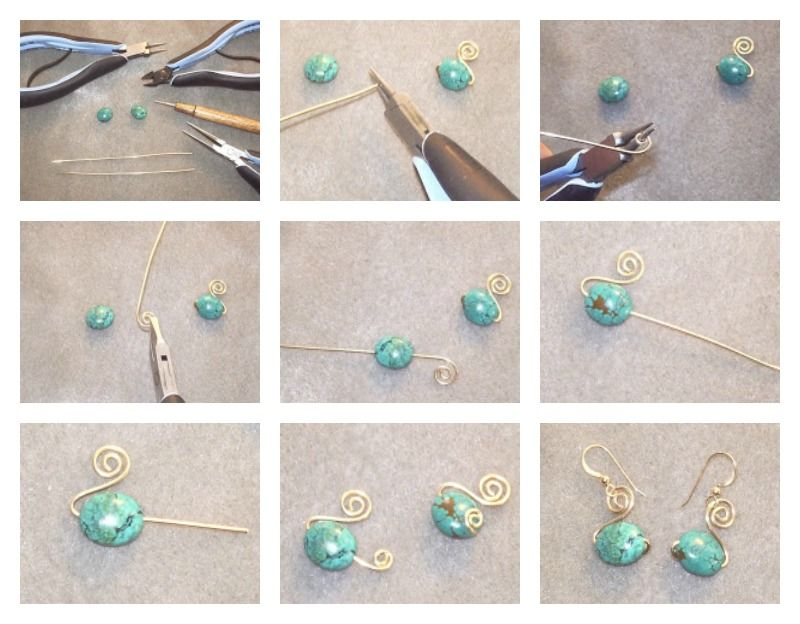 Free Spiral Swan Wire Wrapped Bead Earrings Tutorial from Perfectly ...
