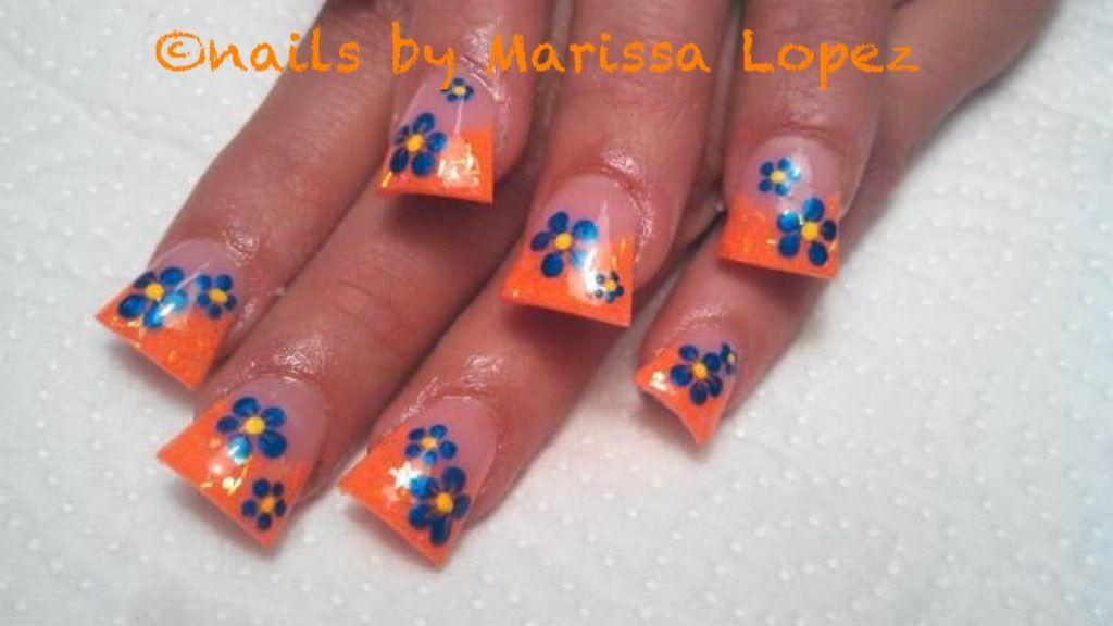 Summer flared Acrylic nails with blue flowers #Hawaiian #duck feet ...