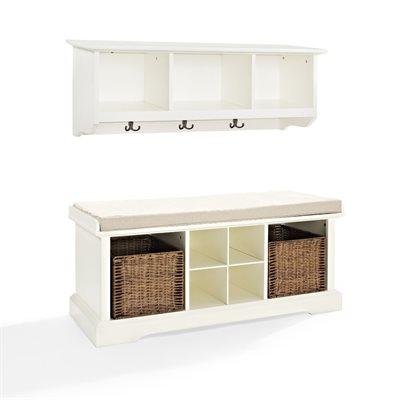 Crosley KF60001 Brennan 2 Piece Entryway Bench and Shelf Set