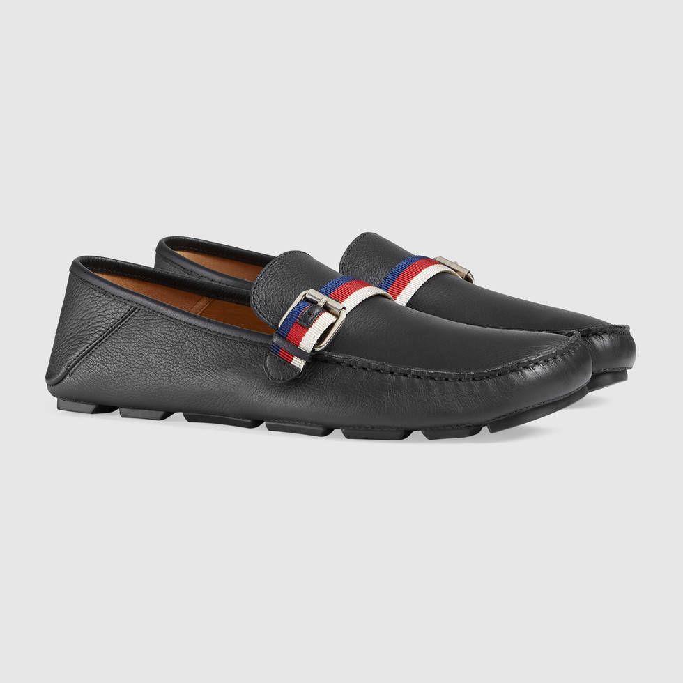 03cec0217226e GUCCI Mens Driver Black Loafers Pebble Sole Shoes - 199.99 ...